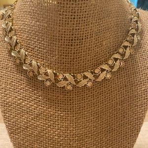 Vintage Coro gold tone rhinestone choker necklace